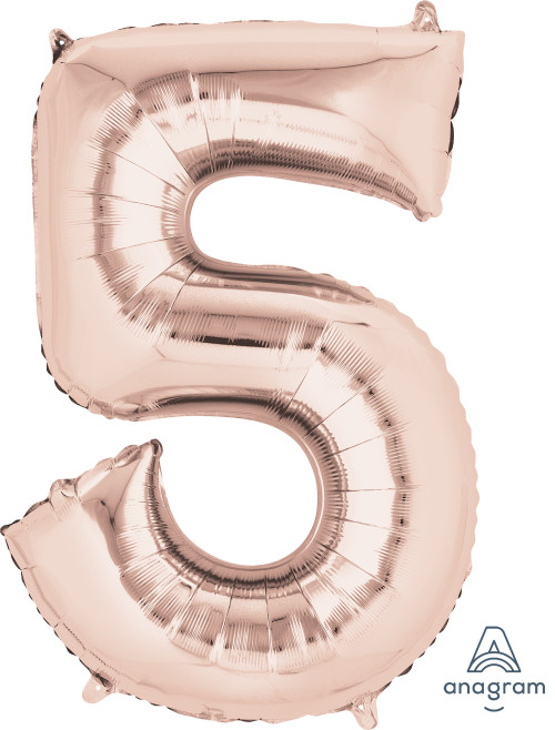 "34"" Giant Number Foil Balloon (Rose Gold) - Number '5'"