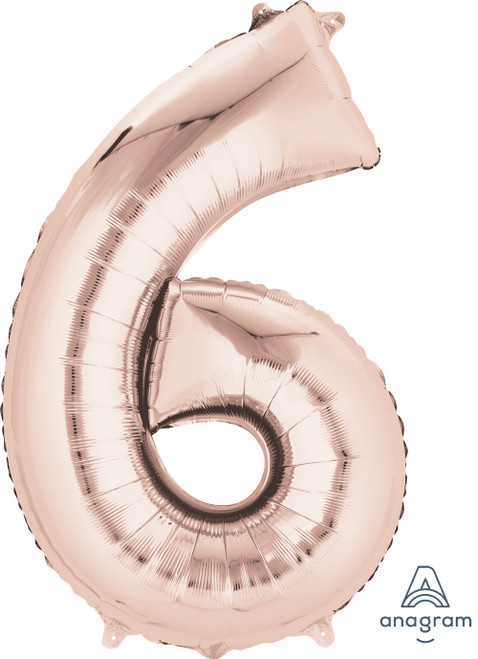 "34"" Giant Number Foil Balloon (Rose Gold) - Number '6'"