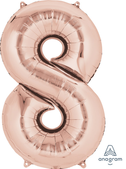 "34"" Giant Number Foil Balloon (Rose Gold) - Number '8'"