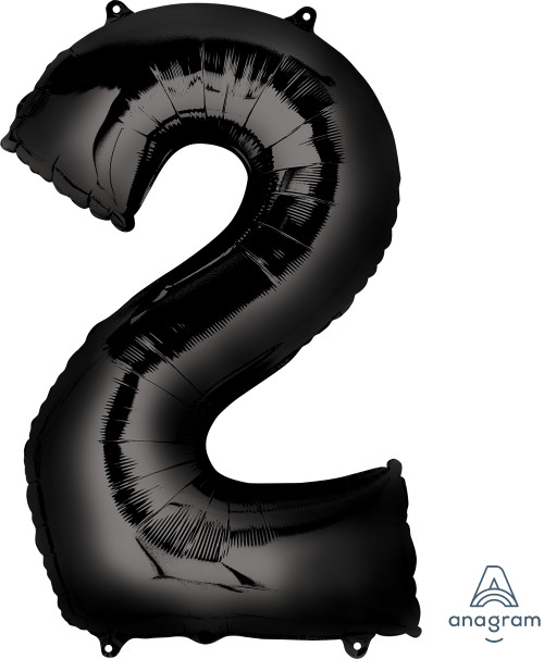 "34"" Giant Number Foil Balloon (Black) - Number '2'"
