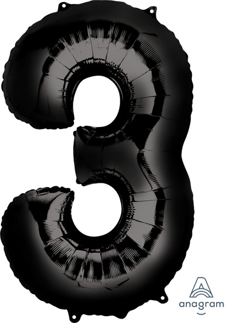 "34"" Giant Number Foil Balloon (Black) - Number '3'"