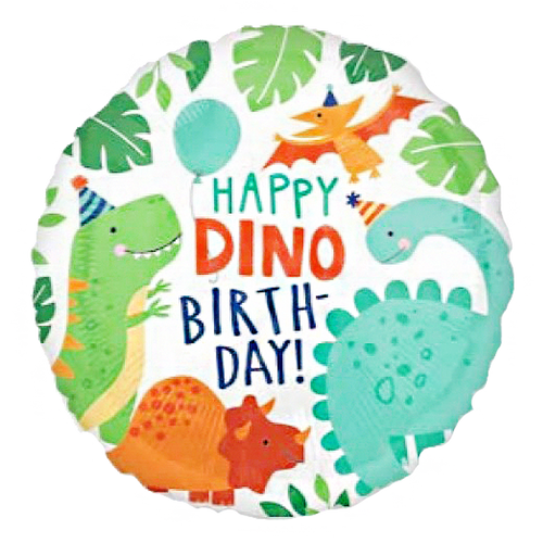 Happy Dino Happy Birthday Foil Balloon