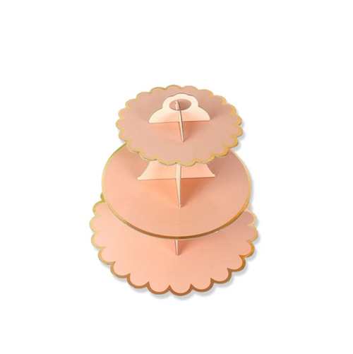 3 Tier Cardboard Cupcake Stand - Baby Pink