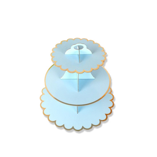 3 Tier Cardboard Cupcake Stand - Baby Blue