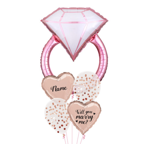 Personalised Name Will You Marry Me Blush Diamond Ring Balloon bouquet
