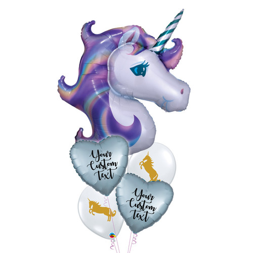 Personalised Pastel Unicorn Love Balloons Bouquet