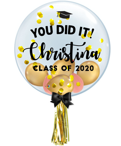"[Graduation] 24"" Personalised Name You Did It! Crystal Clear Balloon - Round Confetti(1cm), Mini Chrome & Metallic Latex Balloons Filled"