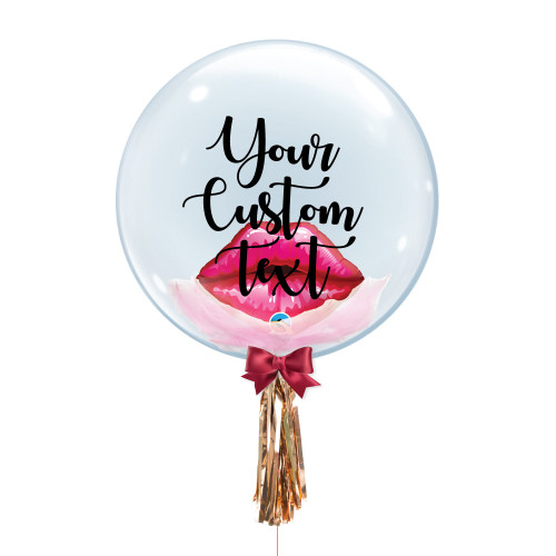 "24"" Personalised Crystal Ball Balloon - Feathers & Red Kissey Lips Foil Balloon Stuffed"