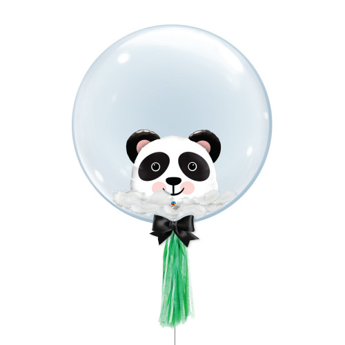 "24"" Crystal Ball Balloon - Feathers & Panda Head Foil Balloon Stuffed"