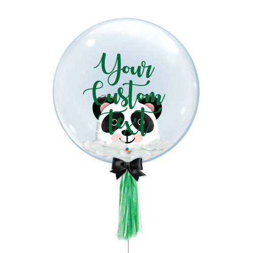 "24"" Personalised Crystal Ball Balloon - Feathers & Panda Head Foil Balloon Stuffed"