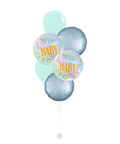 [Baby] Watercolor Welcome Baby Boy Balloons Bouquet