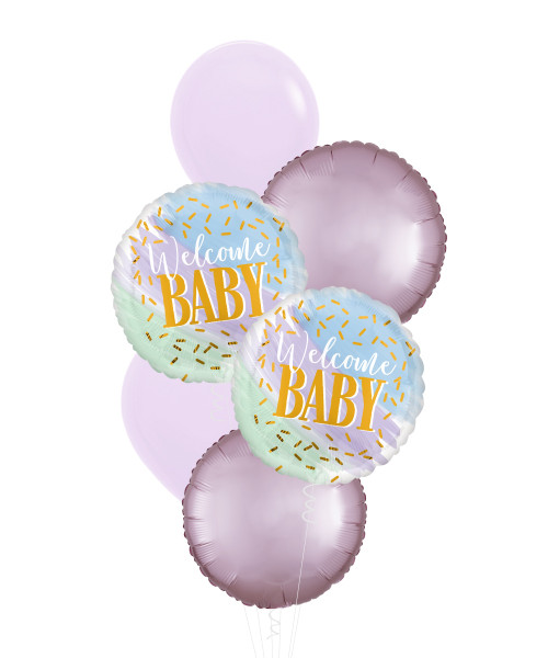 Watercolor Welcome Baby Girl Balloons Bouquet