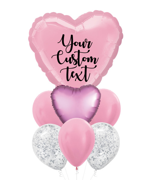 Personalised You're My Love Balloons Bouquet  - Metallic Pearl Pastel Pink