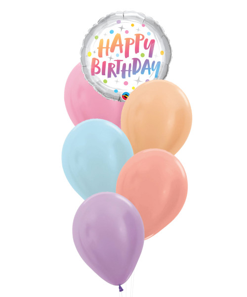 Happy Birthday Metallic Pastel Rainbow Dots Foil Balloons Bouquet