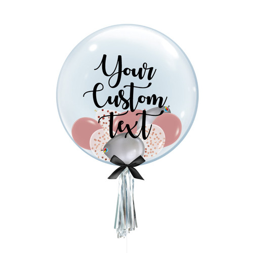 """24"""" Personalised Crystal Clear Balloon - Mini Confetti, Chrome & Fashion Latex Balloons Filled"""