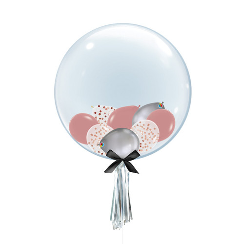 "24"" Crystal Clear Balloon - Mini Confetti, Chrome & Fashion Latex Balloons Filled"