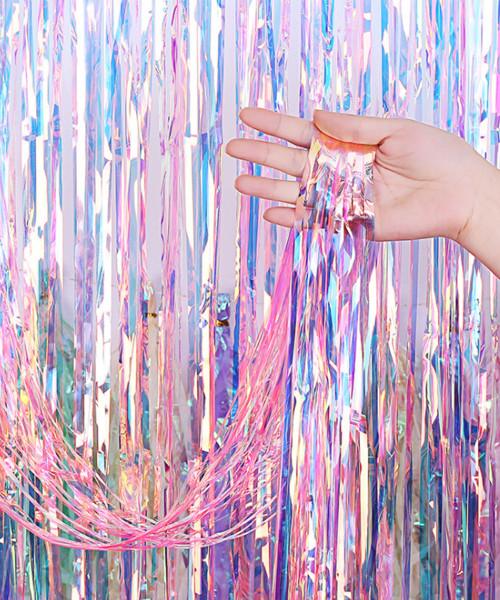 Streamer Curtain Fringe Backdrop (1meter x 2 meter) - Holographic Pink