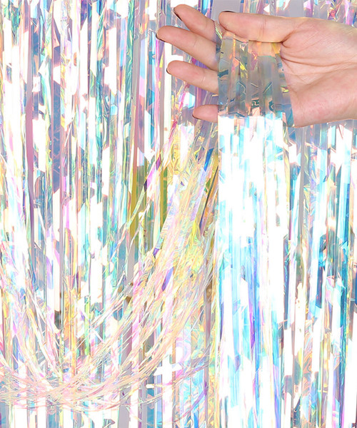 Streamer Curtain Fringe Backdrop (1meter x 2 meter) - Holographic Rainbow