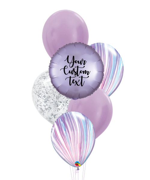 Personalised Marble-lous Balloons Bouquet - Satin Luxe Pastel Lilac