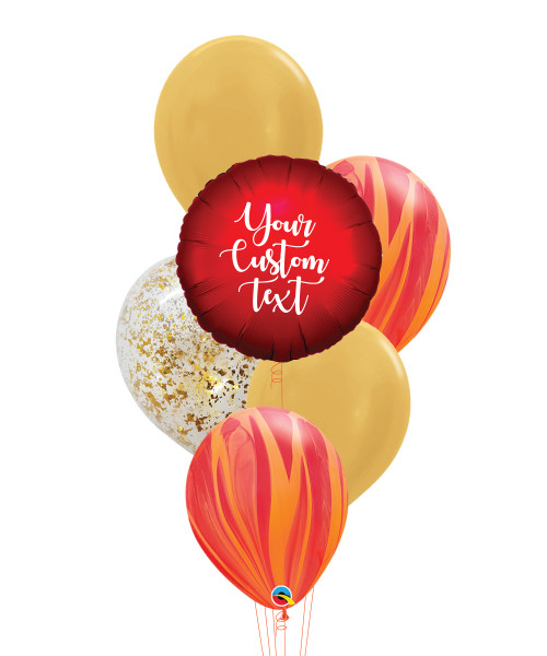 Personalised Marble-lous Balloons Bouquet - Satin Luxe Sangria Red