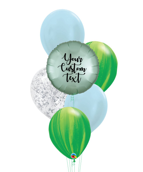 Personalised Marble-lous Balloons Bouquet - Satin Luxe Mint Green