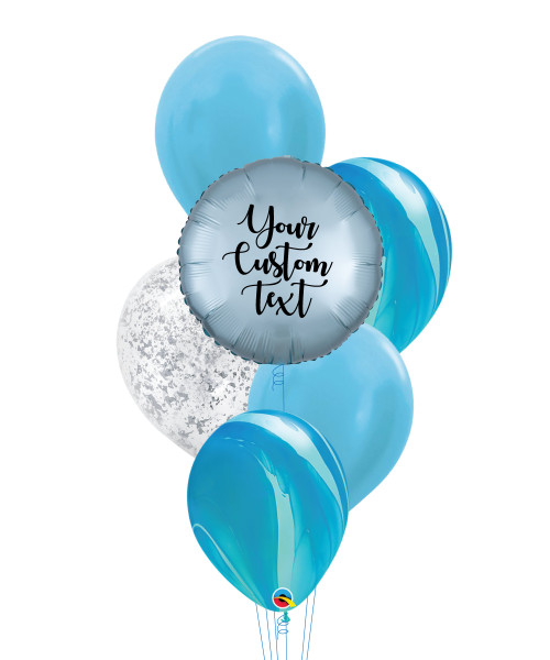 Personalised Marble-lous Balloons Bouquet - Satin Luxe Pastel Blue