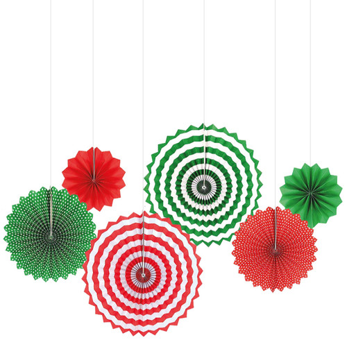 Assorted Patterns Paper Fans Set (6pcs) - Merry Christmas