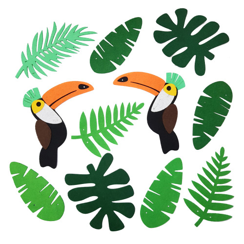 Hawaiian Tropical Felt Garland (3meter) - Toucan & Palm Leaves