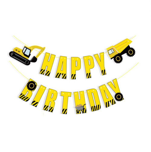 Happy Birthday Letter Bunting (3meter) - Construction Trucks Themed