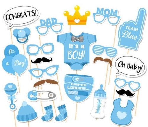 It's A Boy! Baby Shower Photobooth Props (25 Designs, DIY Kit)