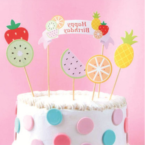 Summer Fruits Happy Birthday Cake Toppers (6pcs)