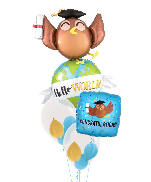 Hello World Owl Balloons Bouquet
