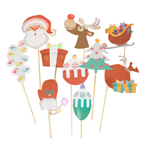 [Merry Christmas] (310 gsm Art Card cut-out) Rudolph the Red Nosed Reindeer Christmas Photobooth Props (10-Designs, DIY Kit)