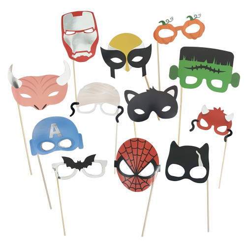 Superhero Party Photobooth Props (12-Designs, Ready Made)