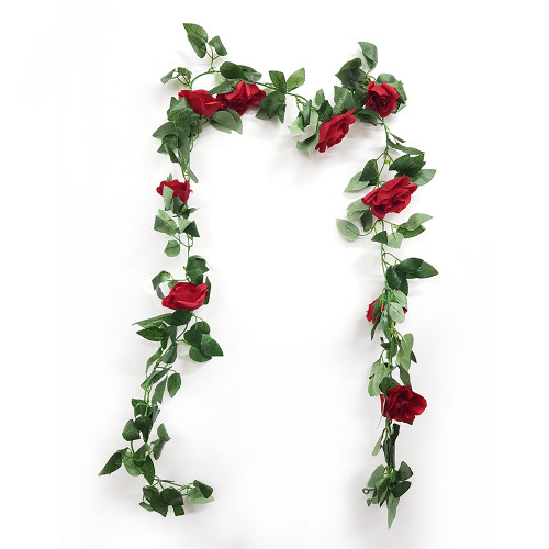 Artificial Leaves & Floral Garland (1.6 meter) - Red Roses