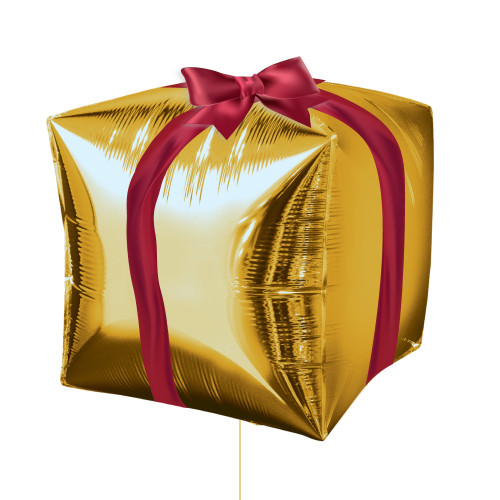 """15"""" Gold Cube Shaped Christmas Present Balloon"""
