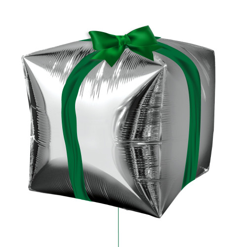 """15"""" Silver Cube Shaped Christmas Present Balloon"""