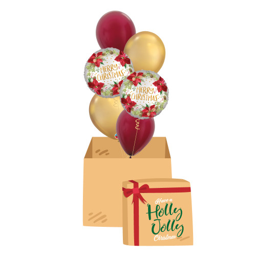 [Christmas Balloon Surprise Box] -  Satin Infused Poinsettia Christmas Chrome Balloons Bouquet
