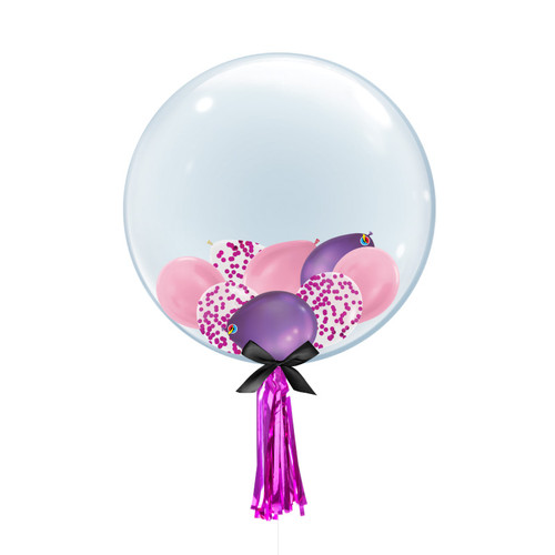 "24"" Crystal Clear Balloon - Confetti, Chrome & Metallic Latex Balloons Filled"