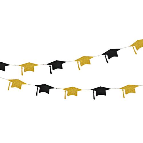 Paper Bunting (4 Meter) - Black & Gold Graduation Hat