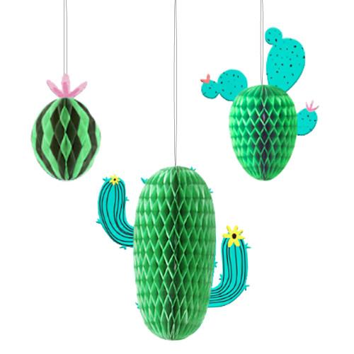 Vibrant Cactus Paper Honeycomb Ball Set (3 Designs)