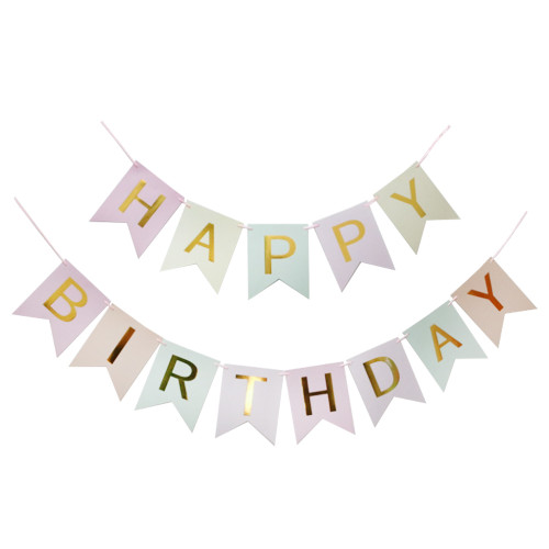 Classic Happy Birthday Bunting (2.5meter) - Pastel Rainbow