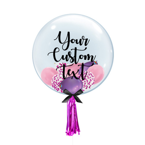"24"" Personalised Crystal Clear Balloon - Mini Confetti, Chrome & Metallic Latex Balloons Filled"