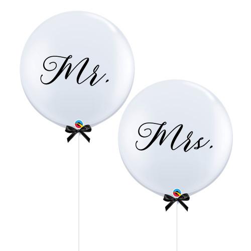 """36""""Jumbo Mr & Mrs Balloon Set (Fine Cursive Text Design)"""