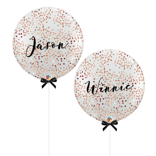 "36"" Jumbo Personalised Bride & Groom Name Balloon Set - Mini Round Confetti (1cm) Filled"