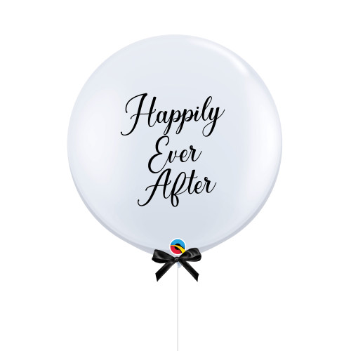 """36"""" Jumbo Happily Ever After Balloon (Fine Cursive Text Design)"""