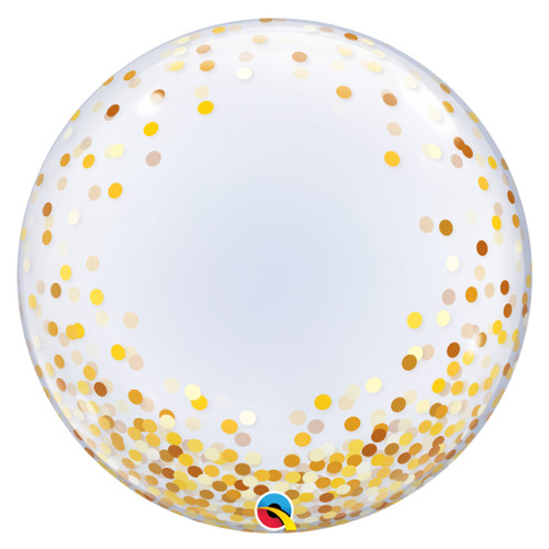 """24"""" Crystal Clear Transparent Confetti Dots Printed Balloon - Gold Confetti Dots"""