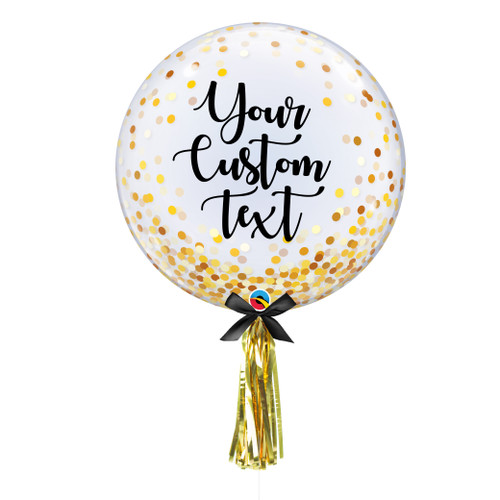 """24"""" Personalised Crystal Clear Transparent Confetti Dots Printed Balloon - Gold Confetti Dots"""
