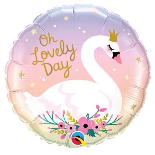 Oh Lovely Day Swan Foil Balloon