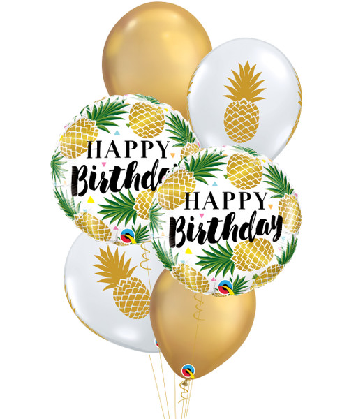 [Pineapple] Birthday Golden Pineapple Chrome Gold Balloons Bouquet